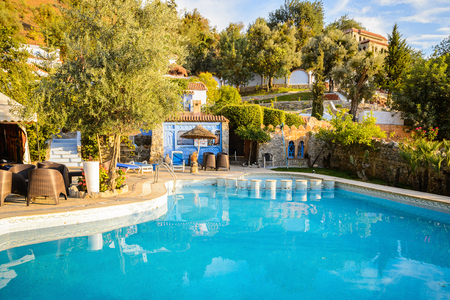 CHEFCHAOUEN, MOROCCO - SEP 10, 2015: Hotel in Chefchaouen. Chefchaouen is situated in the Rif Mountains, just inland from Tangier and Tetouan