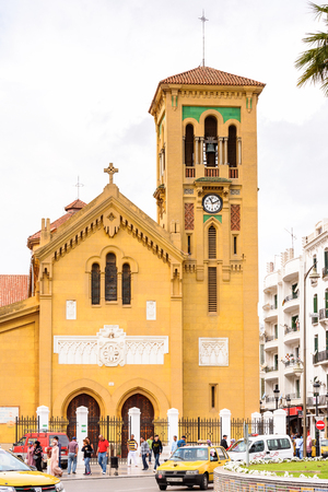 TETOUAN, MOROCCO - SEP 11, 2015: Church of Tetouan, a city in northern Morocco.  Tetouan is one of the two major ports of Morocco on the Mediterranean Sea. Editorial