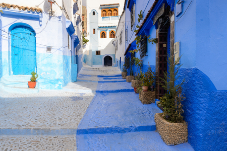 CHEFCHAOUEN, MOROCCO - SEP 10, 2015: Architecture of Chefchaouen, small town in northwest Morocco famous by its blue buildings