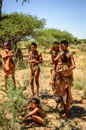 EAST OF WINDHOEK, NAMIBIA - JAN 3, 2016: Unidentified bushman family. Bushman people are members of various indigenous hunter-gatherer people of Southern Africa