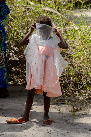 KASCHOUANE, SENEGAL - APR 29, 2017: Unidentified Diola little girl hides her face behind her dress in Kaschouane village. Diolas are the ethnic group predominate in the region of Casamance