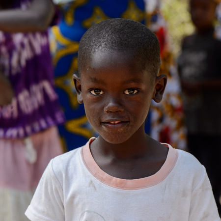KASCHOUANE, SENEGAL - APR 29, 2017: Unidentified Diola little boy looks ahead in Kaschouane village. Diolas are the ethnic group predominate in the region of Casamance