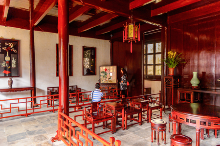SUZHOU, CHINA - APR 1, 2016: Interior of a pavilion at the The Humble Administrator's Garden,  a Chinese garden in Suzhou, a UNESCO World Heritage Site