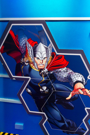 SHANGHAI, CHINA - APR 3, 2016: Thor illustration at the Shanghai Madame Tussauds wax museum. Marie Tussaud was born as Marie Grosholtz in 1761