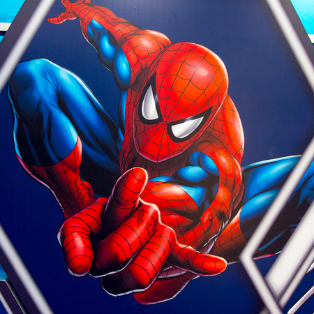 SHANGHAI, CHINA - APR 3, 2016: Spiderman illustration at the Shanghai Madame Tussauds wax museum. Marie Tussaud was born as Marie Grosholtz in 1761 Standard-Bild - 103809969