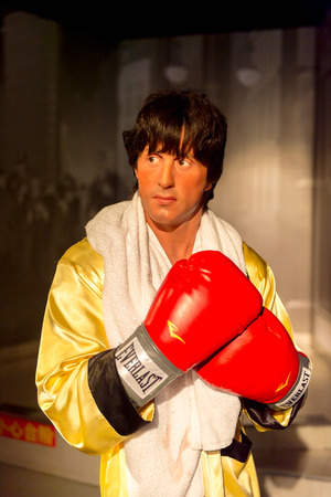 SHANGHAI, CHINA - APR 3, 2016:  Sylvester Stellone as Rocky Balboa at the Shanghai Madame Tussauds wax museum. Marie Tussaud was born as Marie Grosholtz in 1761 에디토리얼