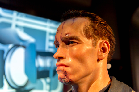 SHANGHAI, CHINA - APR 3, 2016: Arnold Schwarzenegger as the Terminator at the Shanghai Madame Tussauds wax museum. Marie Tussaud was born as Marie Grosholtz in 1761 Editorial