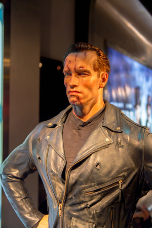 SHANGHAI, CHINA - APR 3, 2016: Arnold Schwarzenegger as the Terminator at the Shanghai Madame Tussauds wax museum. Marie Tussaud was born as Marie Grosholtz in 1761 新闻类图片