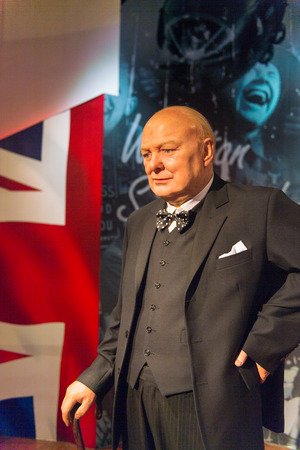 SHANGHAI, CHINA - APR 3, 2016: Winston Churchill at the Shanghai Madame Tussauds wax museum. Marie Tussaud was born as Marie Grosholtz in 1761