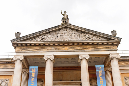 OXFORD, ENGLAND - JUL 10, 2016: Ashmolean Museum of Art and Archaeology, Beaumont Street, Oxford, England, is the first university museum of the world