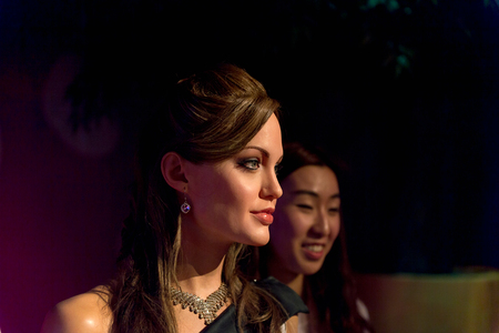 SHANGHAI, CHINA - APR 3, 2016: Angelina Jolie at the Shanghai Madame Tussauds wax museum. Marie Tussaud was born as Marie Grosholtz in 1761 報道画像