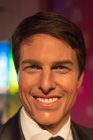 SHANGHAI, CHINA - APR 3, 2016: Tom Cruise at the Shanghai Madame Tussauds wax museum. Marie Tussaud was born as Marie Grosholtz in 1761
