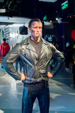 SHANGHAI, CHINA - APR 3, 2016: Arnold Schwarzenegger as the Terminator at Shanghai Madame Tussauds wax museum. Marie Tussaud was born as Marie Grosholtz in 1761 Editorial