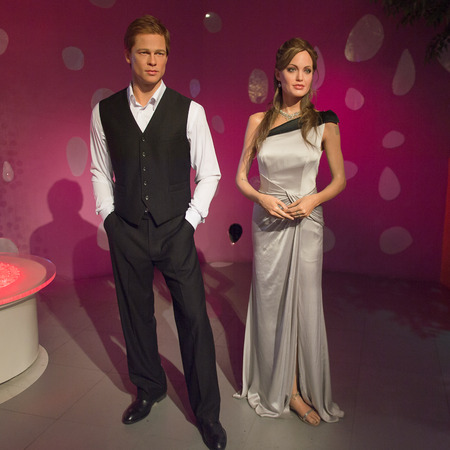 SHANGHAI, CHINA - APR 3, 2016: Angelina Jolie and Brad Pitt at the Shanghai Madame Tussauds wax museum. Marie Tussaud was born as Marie Grosholtz in 1761