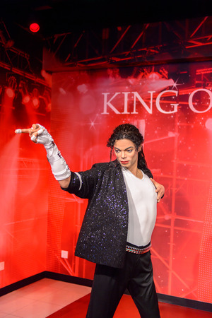 BEIJING, CHINA - APR 6, 2016: King of pop Michael Jackson at the Beijing Madame Tussauds wax museum. Marie Tussaud was born as Marie Grosholtz in 1761 Sajtókép