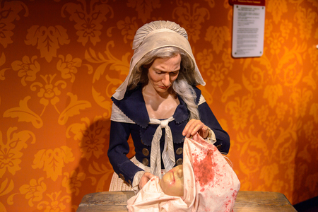 BEIJING, CHINA - APR 6, 2016: Madame Tussaud herself at  Beijing Madame Tussauds wax museum. Marie Tussaud was born as Marie Grosholtz in 1761 Editorial