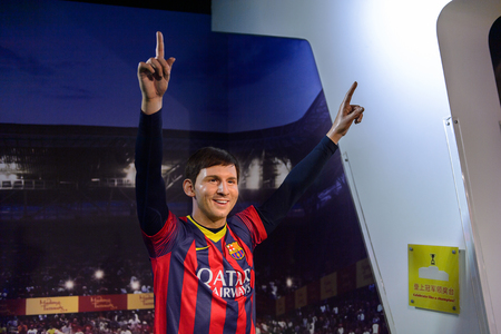 BEIJING, CHINA - APR 6, 2016: Argentina football player Leonel Messi at Beijing Madame Tussauds wax museum. Marie Tussaud was born as Marie Grosholtz in 1761