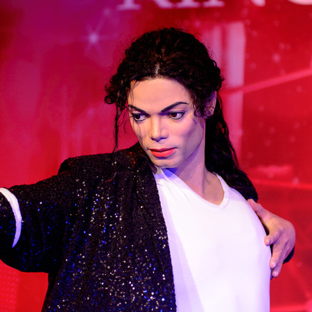 BEIJING, CHINA - APR 6, 2016: King of pop Michael Jackson at the Beijing Madame Tussauds wax museum. Marie Tussaud was born as Marie Grosholtz in 1761 Editorial