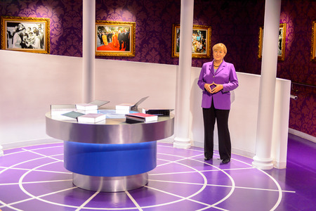 BEIJING, CHINA - APR 6, 2016:  German canchellor Angela Merkel at  the Beijing Madame Tussauds wax museum. Marie Tussaud was born as Marie Grosholtz in 1761 Editorial