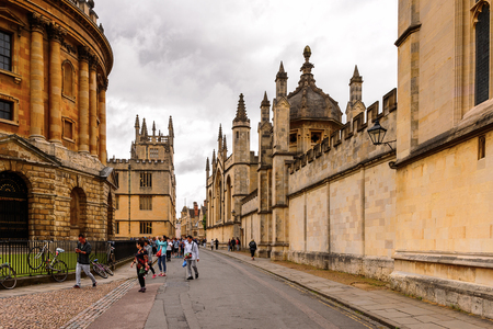 OXFORD, ENGLAND - JULY 10, 2016: Catte street, Oxford, England. Oxford is known as the home of the University of Oxford