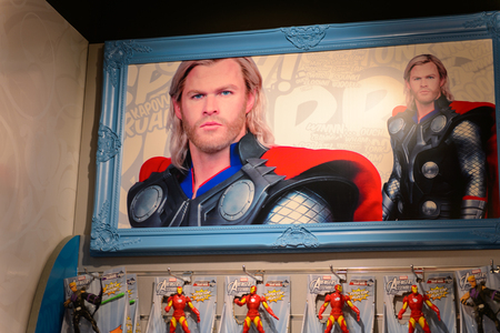 BEIJING, CHINA - APR 6, 2016: Thor portrait at the  Beijing Madame Tussauds wax museum. Marie Tussaud was born as Marie Grosholtz in 1761