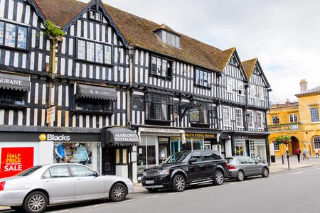 STRATFORD UPON AVON, ENGLAND - JULY 10, 2016: Touristic street of Stratford Upon Avon, a market town in Warwickshire, England