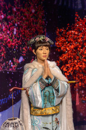 BEIJING, CHINA - APR 6, 2016: Chinese celebrity at the Beijing Madame Tussauds wax museum. Marie Tussaud was born as Marie Grosholtz in 1761 Editorial