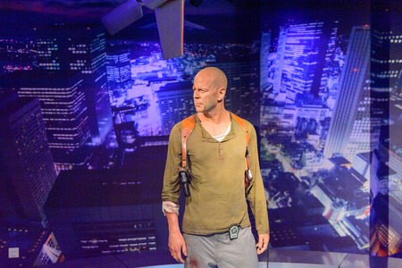 BEIJING, CHINA - APR 6, 2016: Bruce Willis as John McLeine at the  Beijing Madame Tussauds wax museum. Marie Tussaud was born as Marie Grosholtz in 1761