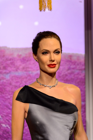 BEIJING, CHINA - APR 6, 2016: Angelina Jolie at the  Beijing Madame Tussauds wax museum. Marie Tussaud was born as Marie Grosholtz in 1761