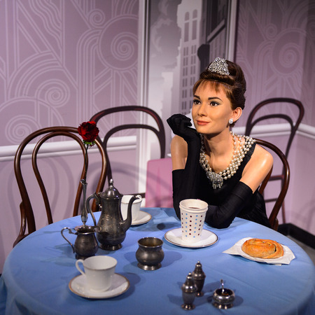 BEIJING, CHINA - APR 6, 2016: Audrey Hepburn at the Beijing Madame Tussauds wax museum. Marie Tussaud was born as Marie Grosholtz in 1761