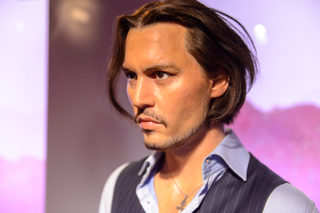 BEIJING, CHINA - APR 6, 2016: Johnny Depp at the  Beijing Madame Tussauds wax museum. Marie Tussaud was born as Marie Grosholtz in 1761