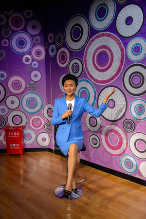 BEIJING, CHINA - APR 6, 2016: Chinese celebrity at the Beijing Madame Tussauds wax museum. Marie Tussaud was born as Marie Grosholtz in 1761 免版税图像 - 103810304