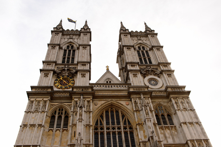 LONDON, ENGLAND - JULY 20, 2016: Great West Towers, Westminster Abbey (Collegiate Church of St Peter at Westminster), UNESCO World Heritage Site