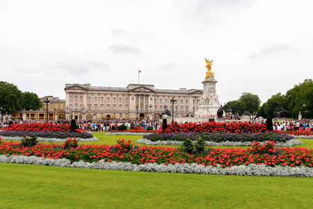LONDON, ENGLAND - JULY 20, 2016: Buckingham Palace, the London residence and administrative headquarters of the reigning monarch of the United Kingdom