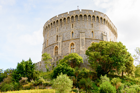 WINDSOR, ENGLAND - JULY 21, 2016: Round Tower of the Windsor Castle, Berkshire, England. Official Residence of Her Majesty The Queen Editorial
