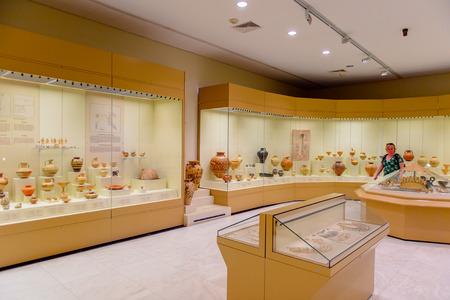 MYCENAE, GREECE -APR 24, 2016: Archaeological museum in Mycenae, Greece. Mycenae is an archaeological site in Greece