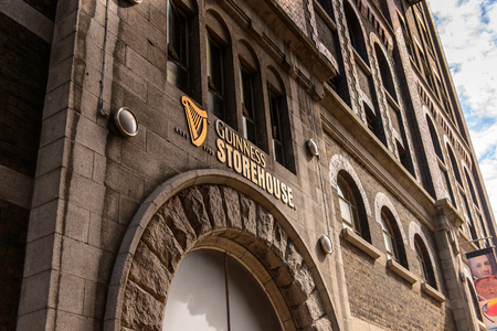 DUBLIN, IRELAND - JULY 12, 2016: Guinness Brewery. Guinness is an Irish dry stout produced by Diageo originated in the brewery of Arthur Guinness