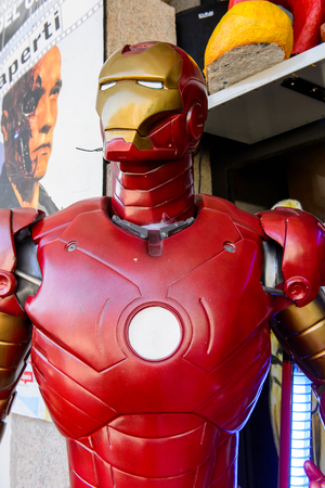 GENOVA, ITALY - MAY 4, 2016: Iron Man, International cinema museum in Genova, Italy. Museum with collections about the popular Hollywood movies.