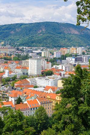 GRAZ, AUSTRIA - JUN 27, 2014: Panoramic view of the historic part  of Graz, Austria. Old town of Graz is the UNESCO World heritage Editorial