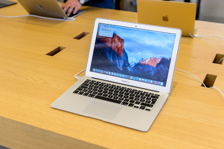 FLORENCE, ITALY - MAY 6, 2016: MacBook Air in in the Apple store at the Piazza della Republica in Florence, Italy. Apple is the multinational technology company headquartered in Cupertino. Editorial