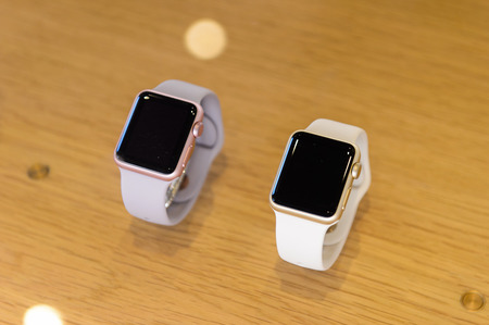 FLORENCE, ITALY - MAY 6, 2016: watch in the Apple store at the Piazza della Republica in Florence, Italy. Apple is the multinational technology company headquartered in Cupertino, California, Editorial
