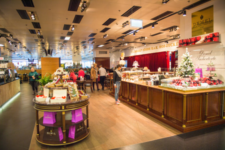 VIENNA, AUSTRIA - DEC 30, 2014: Duty Free secction of the Vienna International Airport, which serves as the hub for Austrian Airlines Editorial