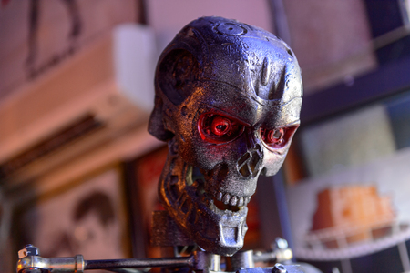 GENOVA, ITALY - MAY 4, 2016: Terminator T-800, International cinema museum in Genova, Italy. Museum with collections about the popular Hollywood movies.