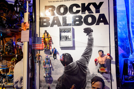 GENOVA, ITALY - MAY 4, 2016: Rocky Balboa, International cinema museum in Genova, Italy. Museum with collections about the popular Hollywood movies.