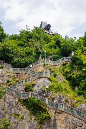 GRAZ, AUSTRIA - JUN 27, 2014: Schlossberg (Castle Hill), mountain in Graz. Part of the UNESCO World heritage in Graz, Austria