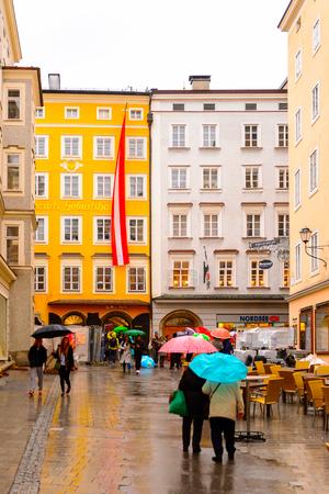 SALZBURG, AUSTRIA - MAY 1, 2016: Beautiful architecture of Salzburg, Austria. It is  the fourth-largest city in Austria Editorial