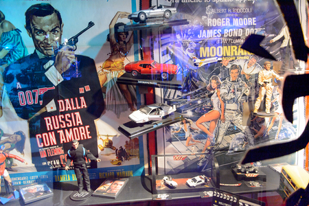 GENOVA, ITALY - MAY 4, 2016: James Bond area, International cinema museum in Genova, Italy. Museum with collections about the popular Hollywood movies.
