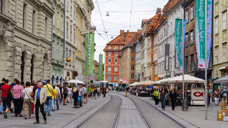 GRAZ, AUSTRIA - JUN 27, 2014: Architecture of the downtown in Graz, Austria. Graz is the capital of federal state of Styria and the second largest city in Austria Editorial