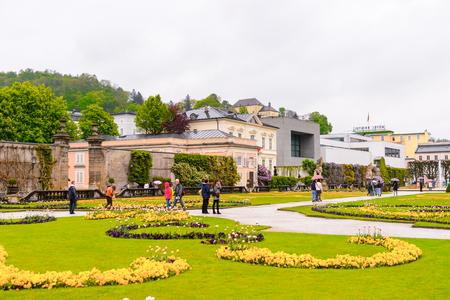 SALZBURG, AUSTRIA - MAY 1, 2016: Garden in  Salzburg, Austria. It is  the fourth-largest city in Austria