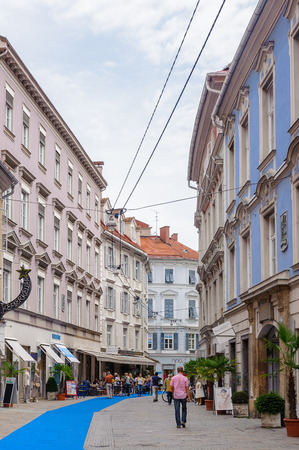 GRAZ, AUSTRIA - JUN 27, 2014: Street in the area called 'Bermuda Triangle' in Graz, Austria. Graz is the capital of federal state of Styria and the second largest city in Austria Editorial